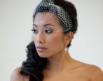 Birdcage Veil, Wedding Birdcage Veil, Bridal Veil, 7 Inch Bird Cage Veil, Wedding Veil - DENISE