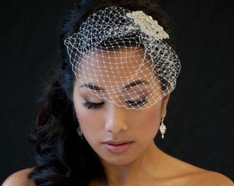 Birdcage Veil, Wedding Birdcage Veil, 7 Inch Birdcage Veil, Wedding Veil, Bridal Veil - DENISE