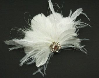 Bridal Fascinator, Wedding Hair Accessory, Wedding Feather Fascinator - DELPHINE
