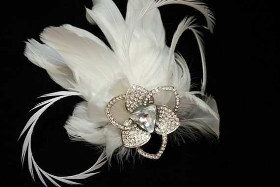 Bridal Fascinator, Ivory Feather Fascinator, Wedding Hair Accessory - BETTY