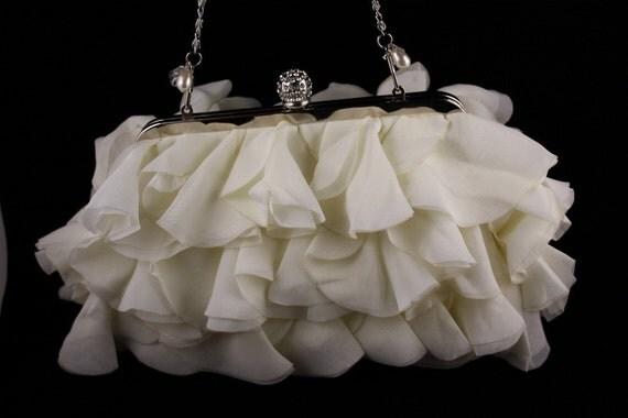Bridal Purse, Ivory Chiffon Clutch, Handbag
