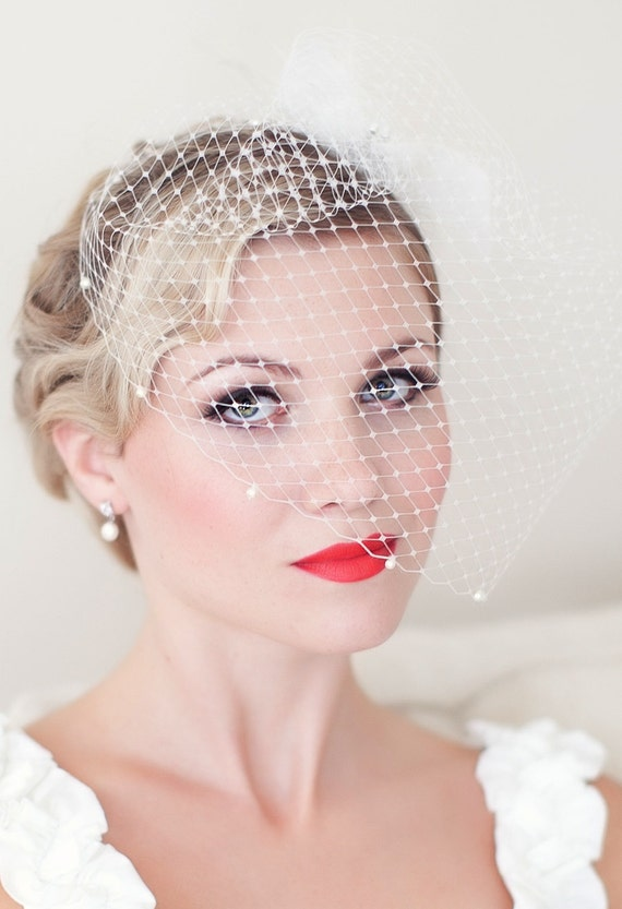 Birdcage Veil Embellished with Swarovski Pearls, Bridal Veil, Wedding veil