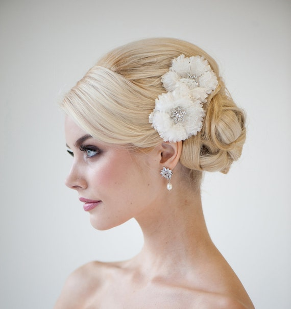 20 Wedding Hairstyles With Flowers: Bridal Flower Headpiece Wedding Hair Clips Lace Bridal