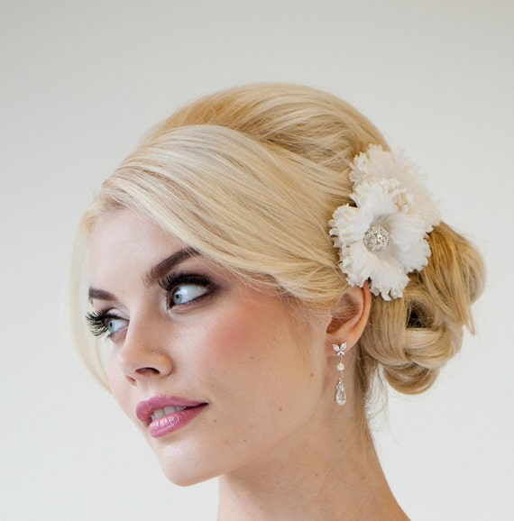 Flowers For Hair Wedding Australia : Bridal silk flower hair clips wedding headpiece