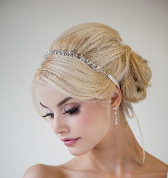 bridal ribbon headband bridal hair accessory beaded ribbon headband