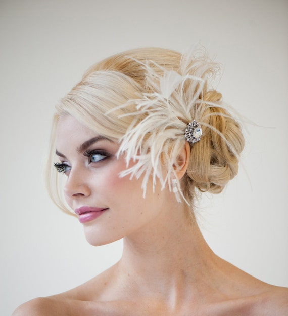 Bridal Fascinator, Wedding Fascinator, Feather Fascinator, Ivory Champagne Fascinator- GENA