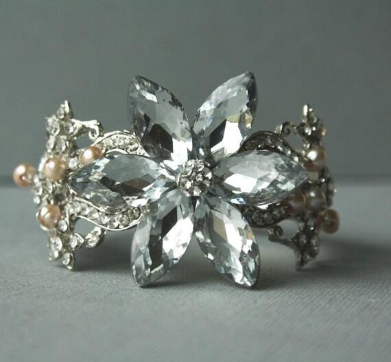 Wedding Bracelet, Bridal Bracelet, Crystal Bracelet, Wedding Jewelry, Freshwater Pearl Bracelet