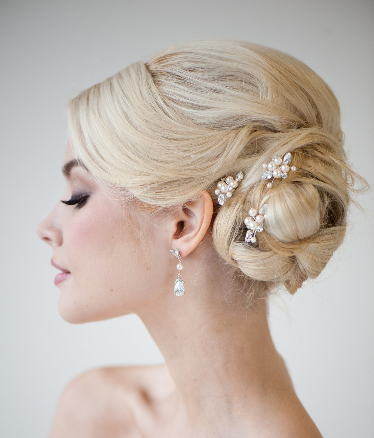Bridal Hair With Pins : Bridal hair wedding swarovski by