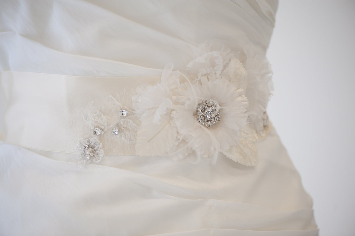 Bridal gown sash wedding dress sash ivory by powderbluebijoux for Ivory wedding dress sash
