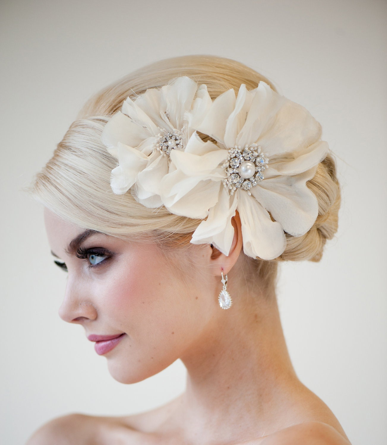 Flower Wedding Headpieces: Bridal Headpiece Bridal Flower Fascinator Wedding Silk