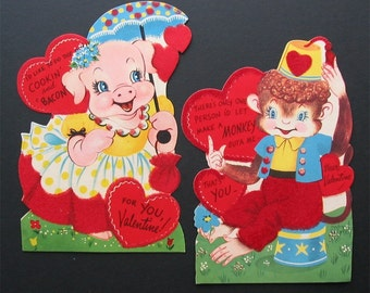 Pair of Large 1950s Retro VALENTINES with Velvet  PIG and MONKEY  Characters