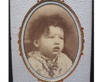 Large Antique Victorian PORTRAIT PHOTOGRAPH of a Wild Haired Cherub Faced Baby ca. 1880s