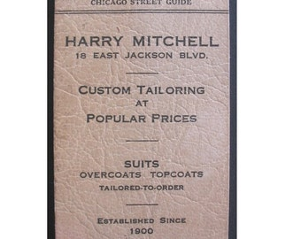 Antique Advertising Booklet for CHICAGO TAILOR SHOP 1940's -- Chicago Street Guide