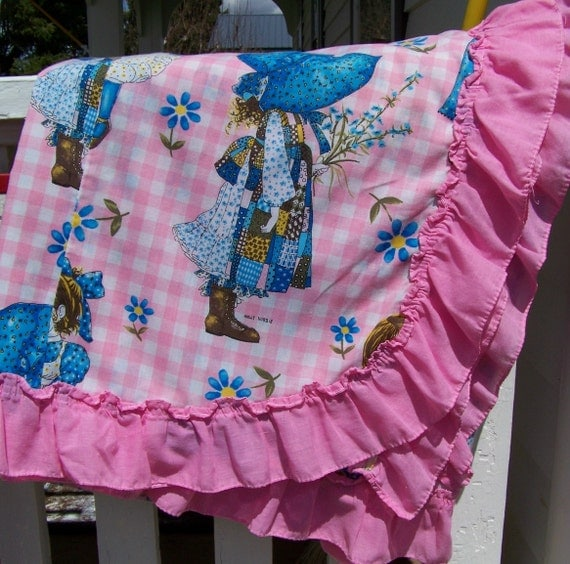 Vintage Holly Hobbie Girls Bedspread Pink And Blue