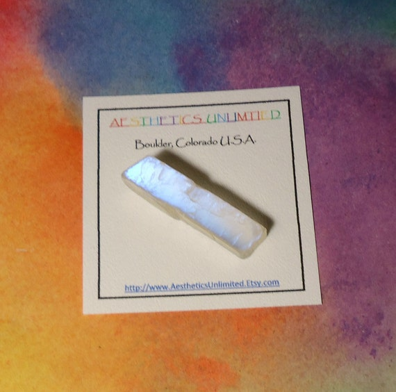 MOONSTONE Natural Double Terminated Iridescent Blue Flash Crystal From India