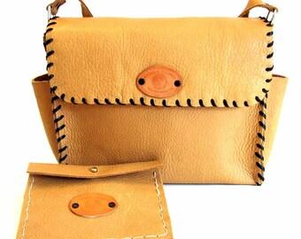 Caramel Leather Whipstitch Messenger Shoulder Bag Handmade