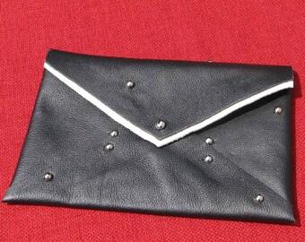 "Black Leather Studded ""Everything Case"" Handmade"