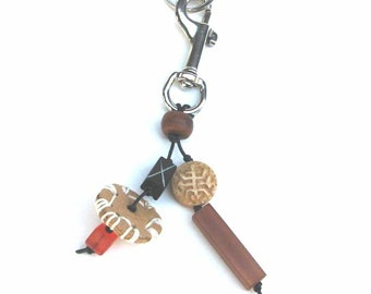 Keychain Key ring with Stitched Disk and Beads Handmade