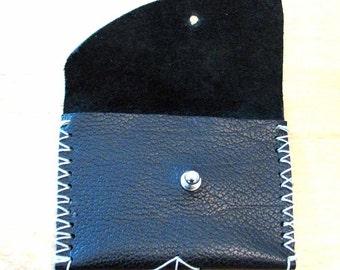 Black Cowhide Slim Wallet or Business Card Case Mini Wallet Handmade