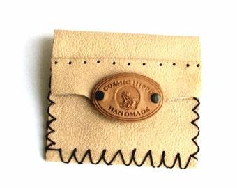 Cream Beige Leather Double-Sided Slim Wallet Mini Wallet Free Shipping Sale Handmade