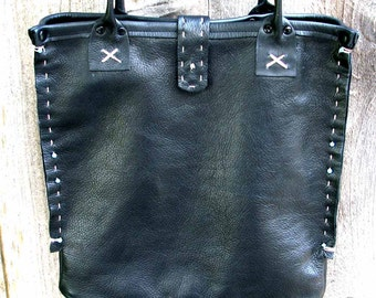Black Leather Southwestern Mimosa1 Tote Hand Stitched Turquoise Beads Handmade