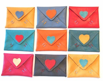 Leather Heart Slim Wallet Card Case Mini Wallet Handmade - Reduced Price