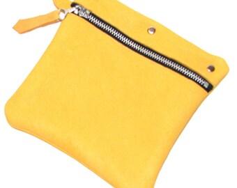 Honey Gold Goldenrod Deerskin Zipper Cosmetic Case Handmade