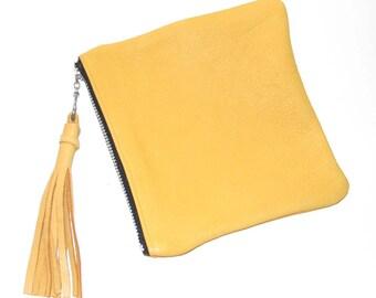 Honey Gold Deerskin Zipper Cosmetic Case Pouch