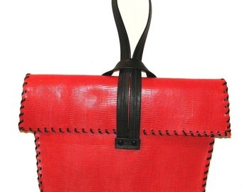 Red Embossed Lizard Cowhide Shoulder Bag Clutch Wristlet Handmade