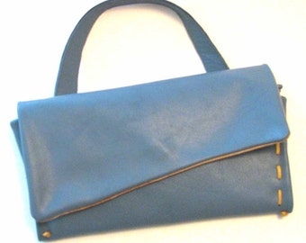 Blue Sky Alma Leather Clutch Purse with Cream Lacing and Suede Lining FREE US SHIPPING Handmade