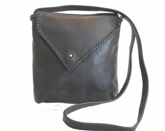 Black Italian Leather Silver Bead Whip Stitch  Envelope Shoulder Bag Handmade
