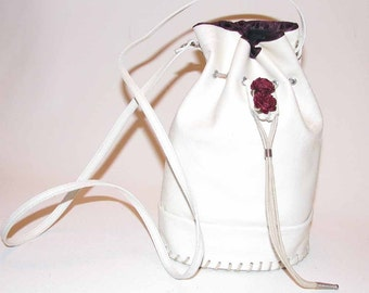 White Leather Drawstring Tote Shoulder Bag Handmade On Sale