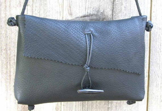 Black Deerskin Cross Body  Mama Hippo Bag Handstitched