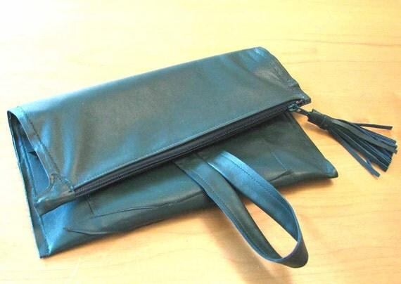 Hunter Green Lambskin Tassel Zipper Wristlet Tote Foldover Clutch Handmade