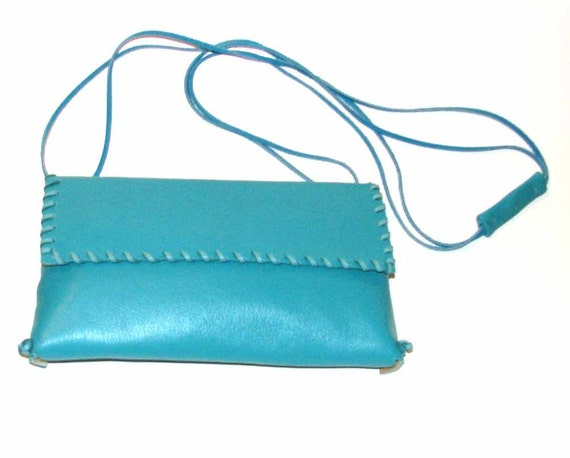Olympian Blue Turquoise Lambskin Whipstitch Clutch Cross Body Handmade