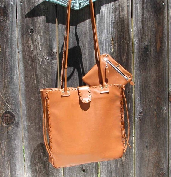 Indian Red Brown Sienna  Brown Whipstitch Leather Tote Zipper Pocket Cell Pocket Handmade