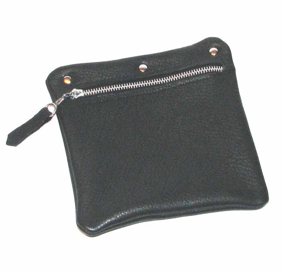 Black Deerskin Zipper Pouch Cosmetic Case Jewelry Pouch Handbag Organizer Handmade