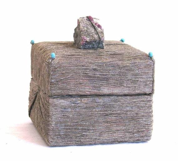 Grey Pleated Silk Organza Box Ruby Matrix  Turquoise Beads Sale Keepsake Handmade