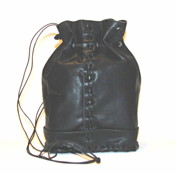 "alt=""leather bucket bag"""