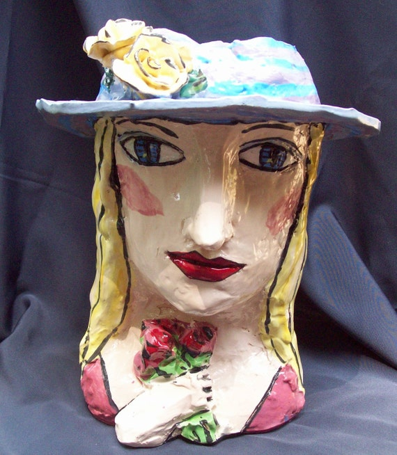 Forget-me-not head vase