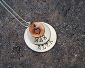 Mothers Pendant-Personalized Hand Stamped Sterling Silver Pendant/Necklace - Discs -Double Layered- Copper Heart
