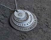 New---Mothers Pendant-Personalized-Sterling Silver- Hand Stamped Pendant  Triple Layered- Silver Heart-New Smaller Font