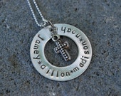 Mothers Circle of Love with Cross-Hand Stamped Sterling Silver