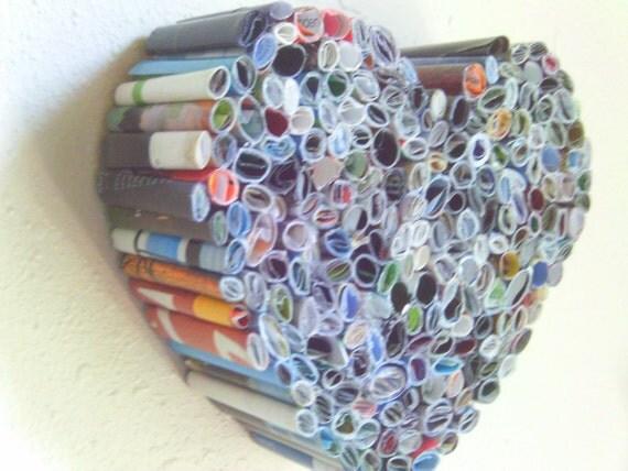 Recycled Magazine Heart Art Sculpture - OOAK - Wall Mountable
