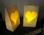 Set of 5 Heart Luminaries - Ready to ship