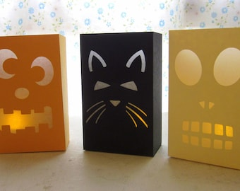 Halloween Luminaries - Set of 3 - Cat, Skull and Pumpkin