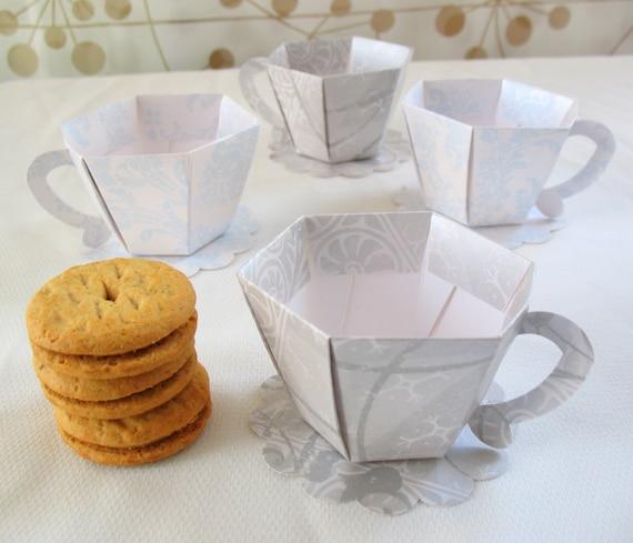 Damask tea cup party favor boxes set of 4 for Teacup party favors