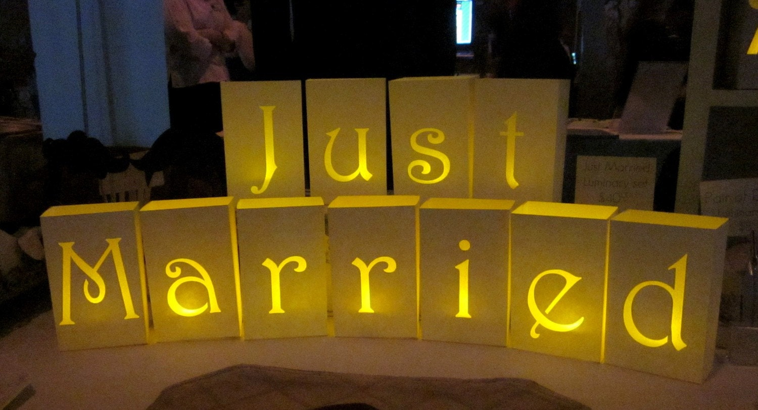 Just Married Paper Luminaries By Paperacorn On Etsy