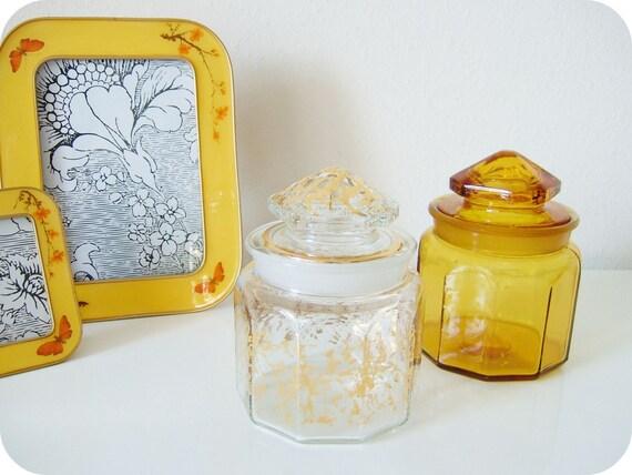 vintage glass jar set