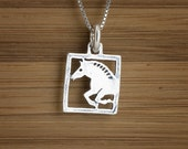 Little Art Deco Horse - STERLING SILVER - Double Sided - (Charm, Necklace, or Earrings)